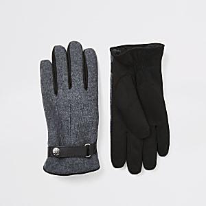 Graue Lederhandschuhe mit Bündchen
