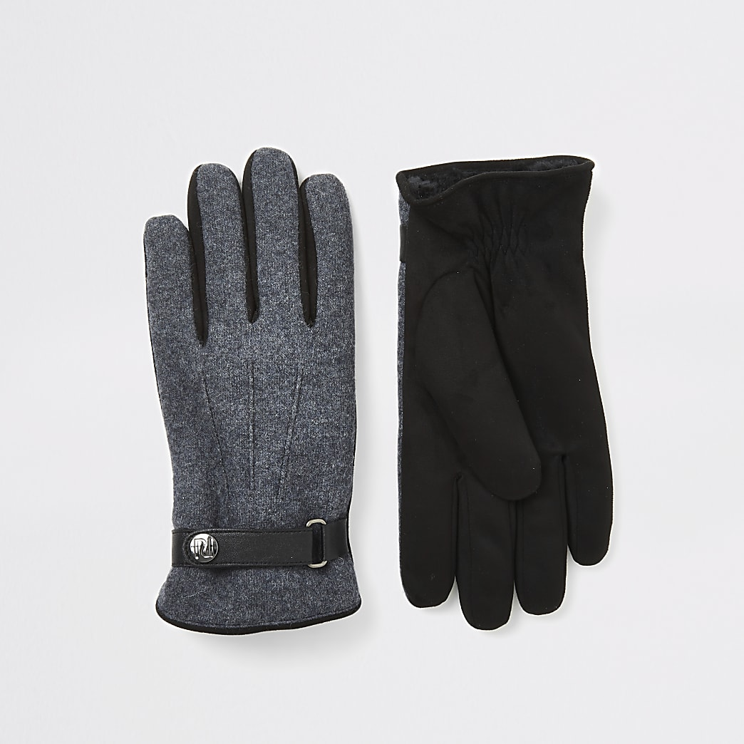 Grey leather cuffed gloves