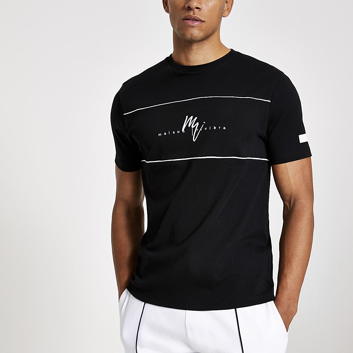 Maison Riviera - Zwart slim-fit T-shirt