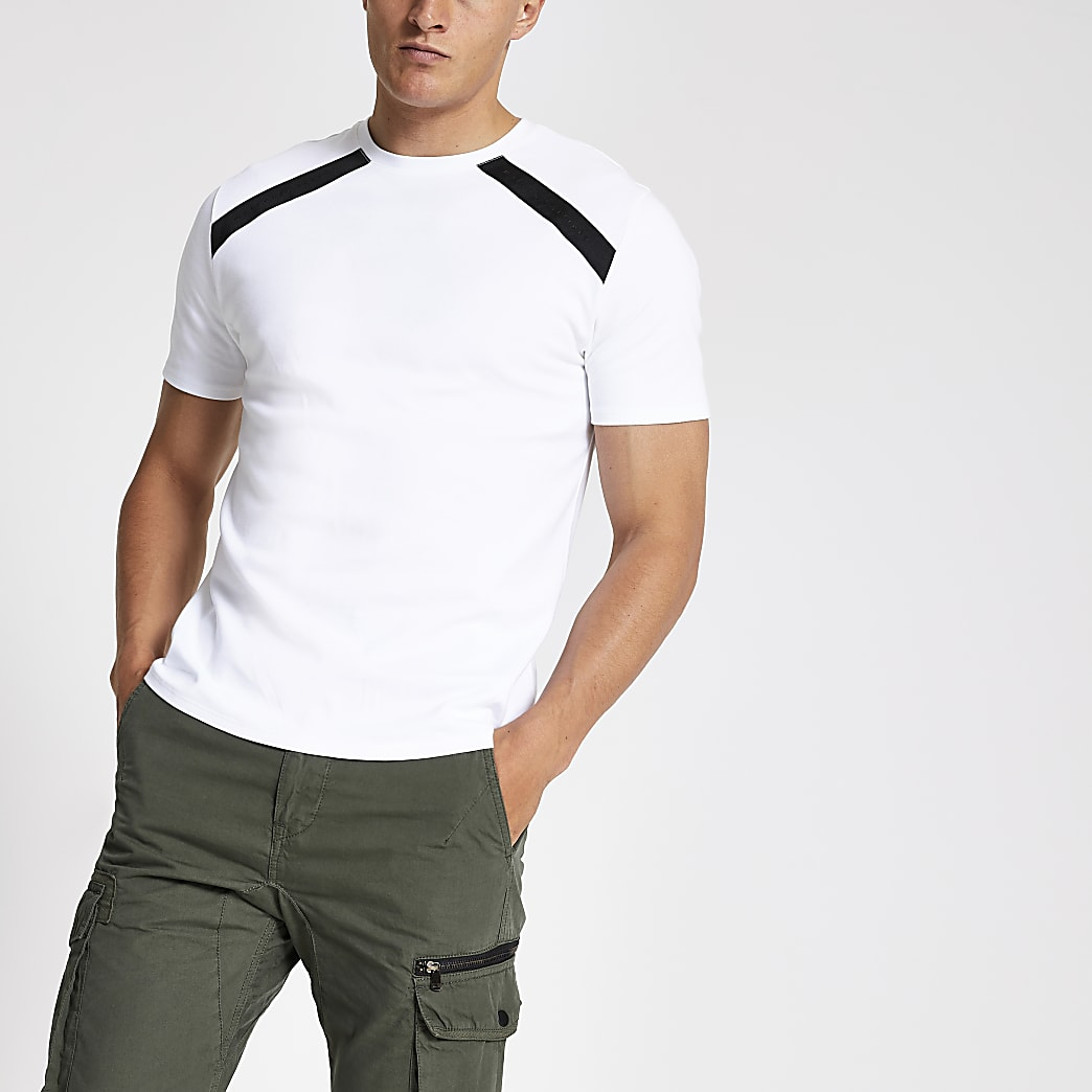 White slim fit contrast tape T-shirt