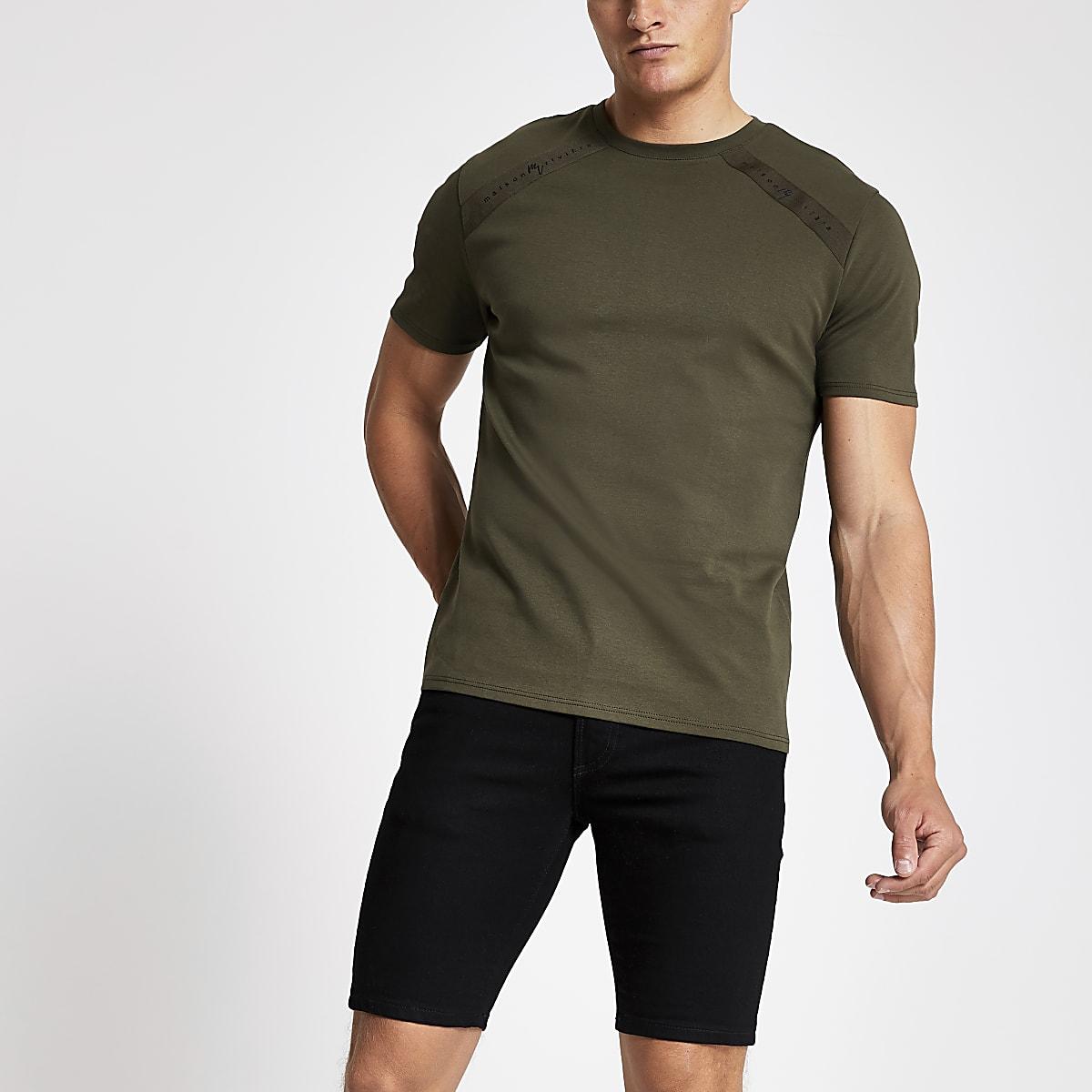 T-shirt Maison Riviera vert kaki à bande