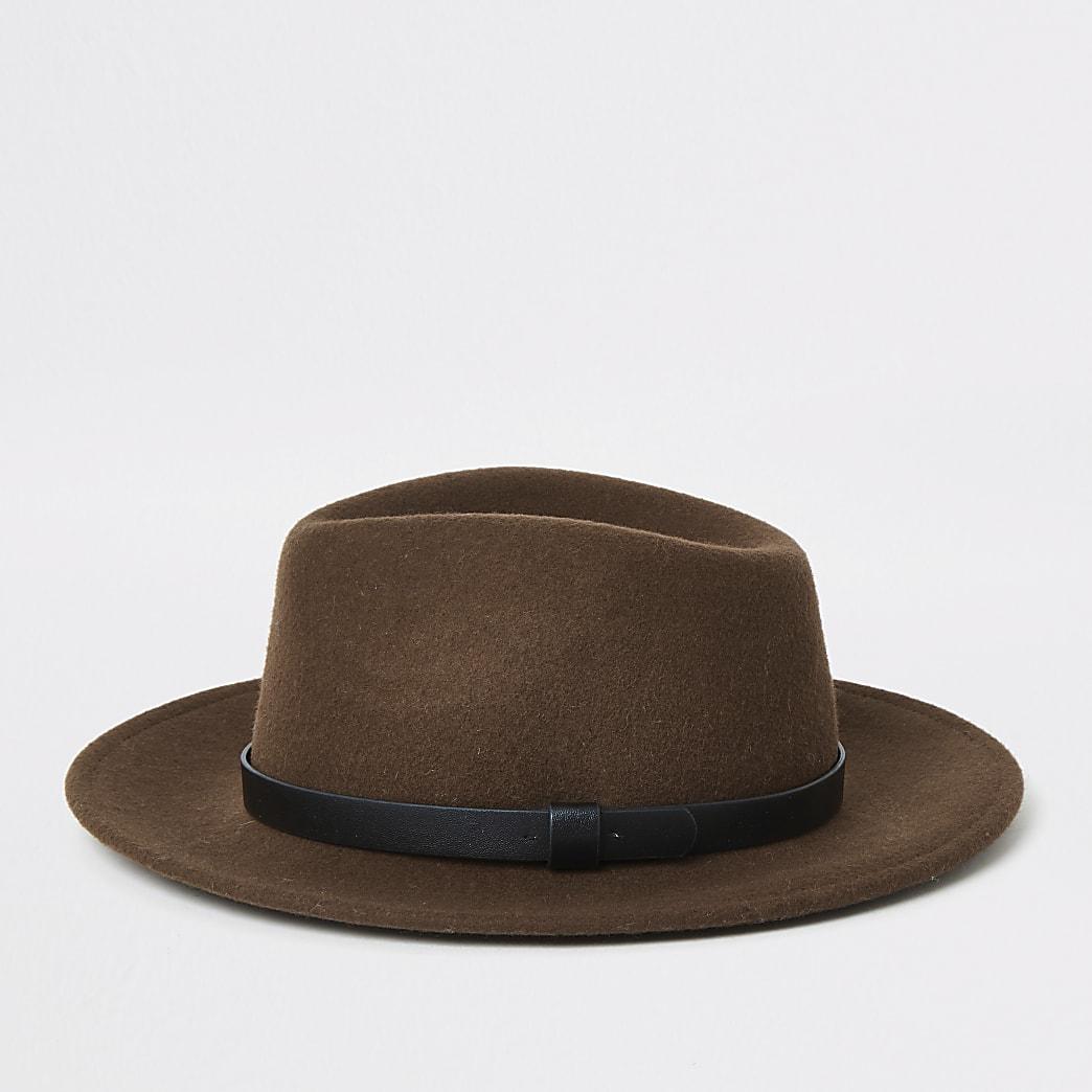 Chapeau fedora brun