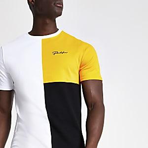 Geel slim-fit T-shirt met 'Prolific'-print en kleurvlakken