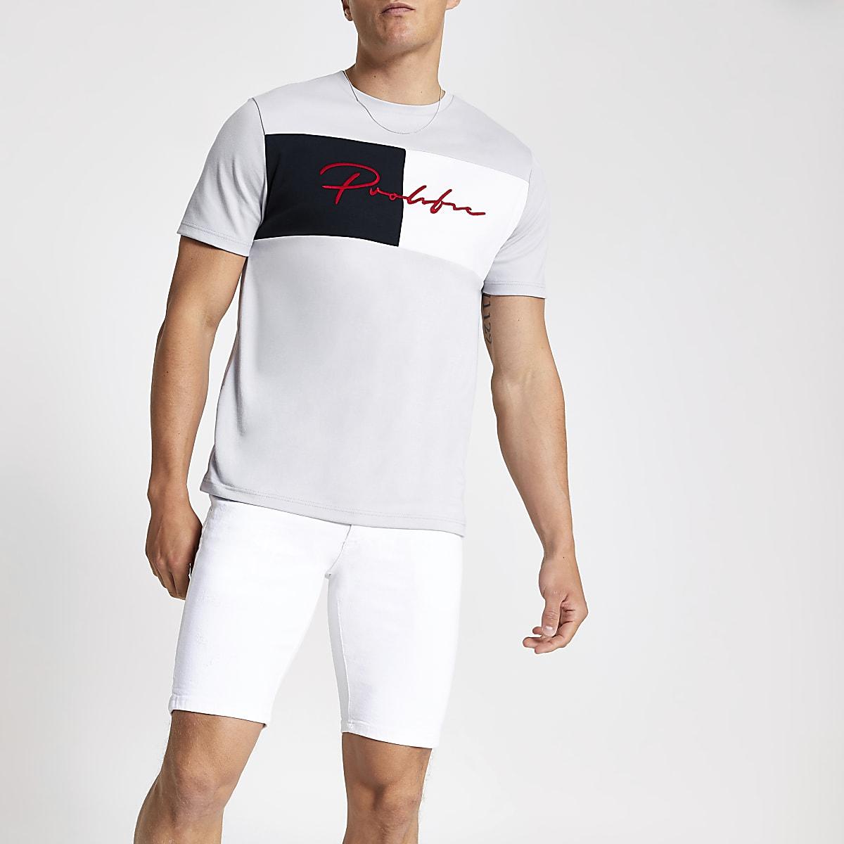 Lichtgrijs slim-fit T-shirt met 'Prolific'-print