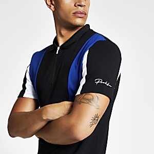 Black zip Prolific slim fit polo shirt