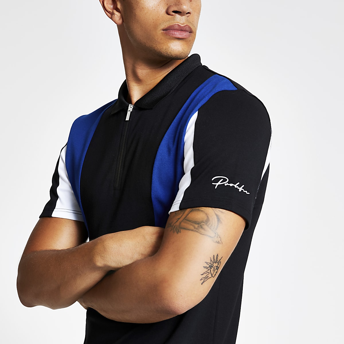 Black zip Prolific slim fit polo shirt