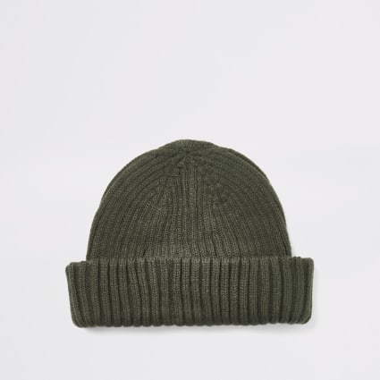 Khaki knitted beanie docker hat