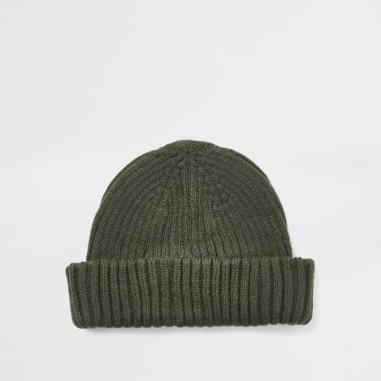 Khaki knitted beanie docker hat