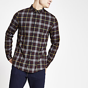 Red slim fit check print long sleeve shirt