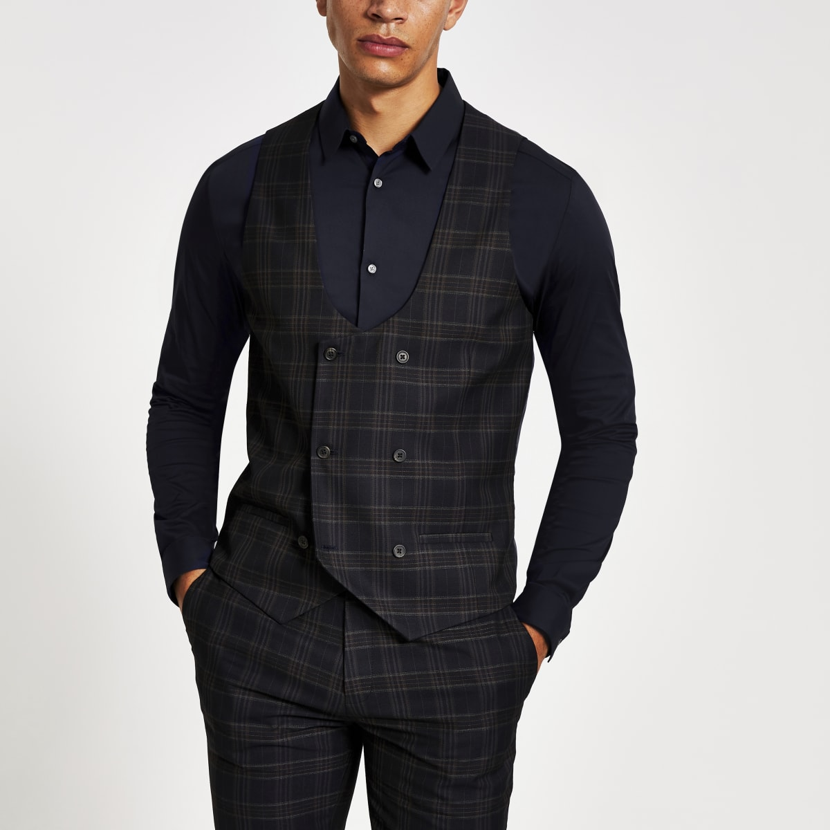 Navy check double breasted suit waistcoat