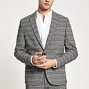 Elastische, figurbetonte Anzugjacke in Grau mit Karomuster