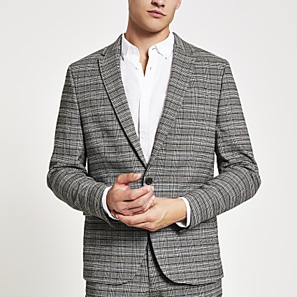 Grey check stretch skinny suit jacket