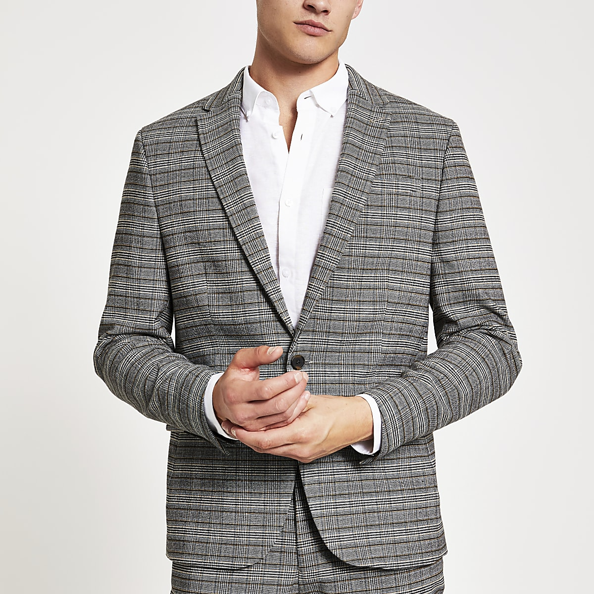Grey check stretch skinny suit jacket