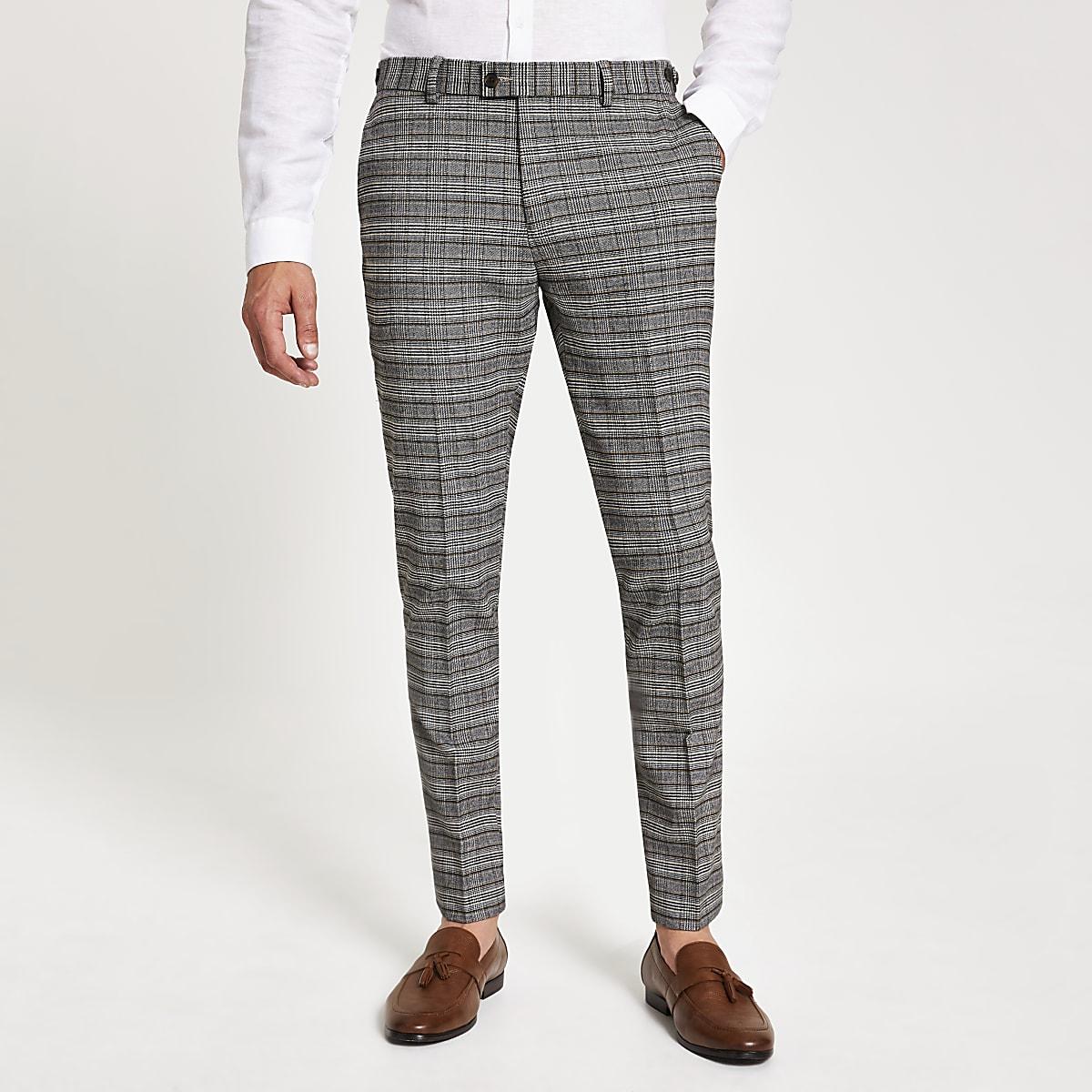 Pantalon de costume skinny stretch à carreaux gris