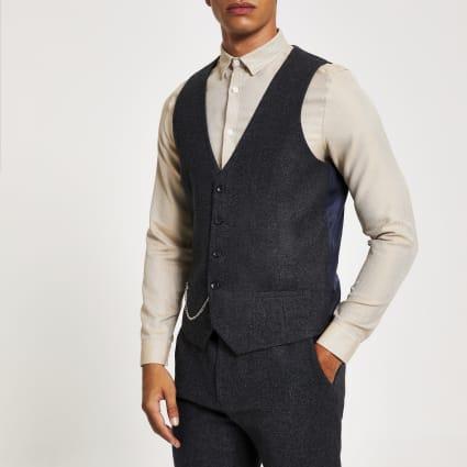 Navy chain pocket suit waistcoat
