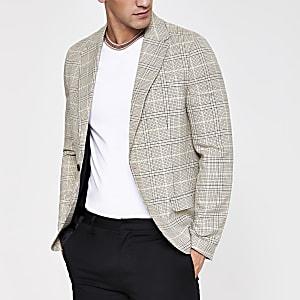 Ecru geruite skinny-fit blazer