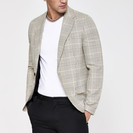Ecru check skinny fit blazer