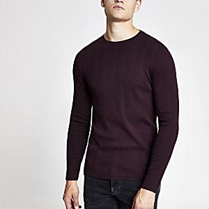 T-shirt slim bordeaux côtelé à manches longues