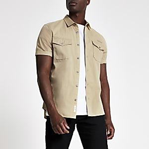 Ecru werkmansoverhemd met korte mouw