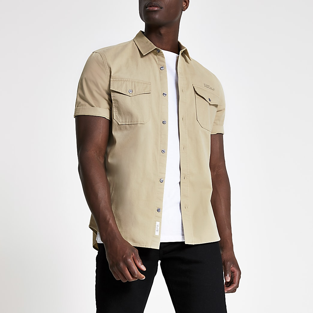 Ecru utility short sleeve regular fit shirt