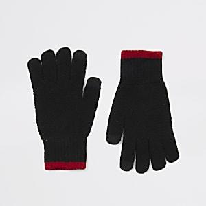 Zwarte gebreide touchscreen handschoenen met contrasterend randje