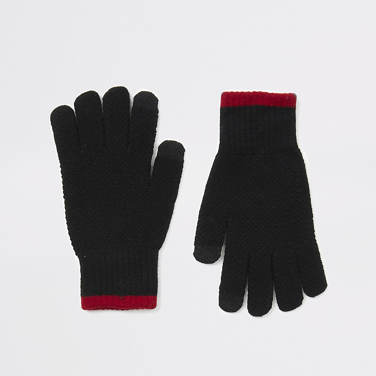 Black knitted tipped touchscreen gloves