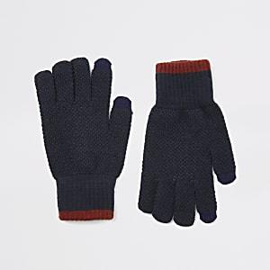 Marineblaue Touchscreen-Strickhandschuhe mit Zierstreifen