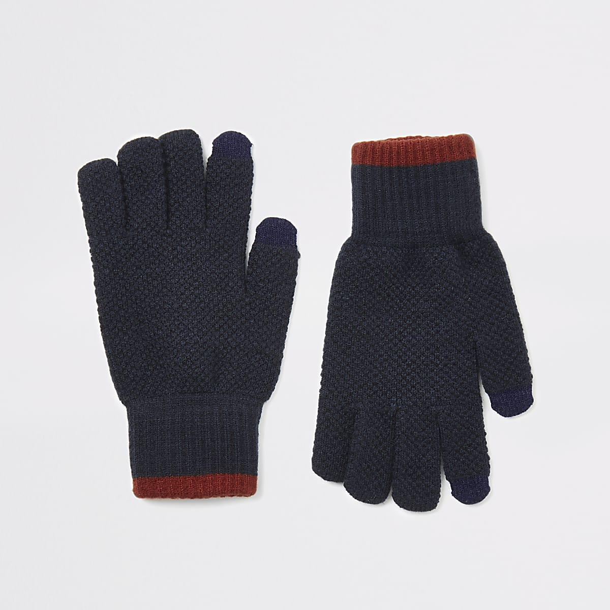 Navy knitted tipped touchscreen gloves