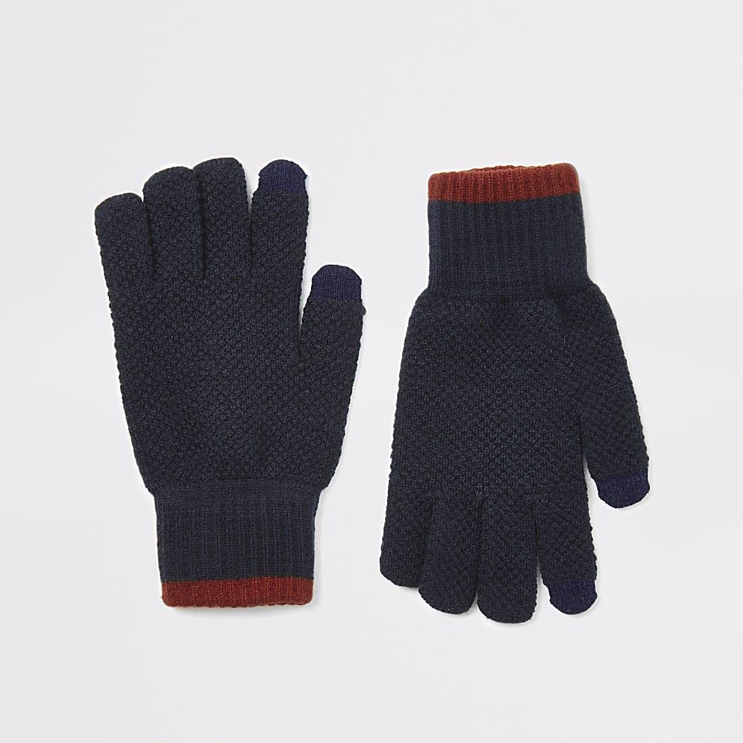 Gants pour écran tactile en maille bleu marine à bordure