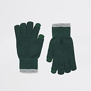 Khakifarbene Touchscreen-Strickhandschuhe mit Zierstreifen