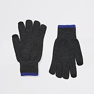 Graue Touchscreen-Strickhandschuhe mit Zierstreifen