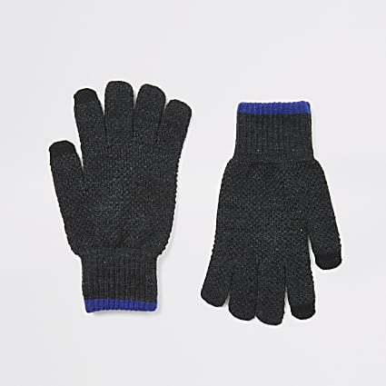Grey knitted tipped touchscreen gloves
