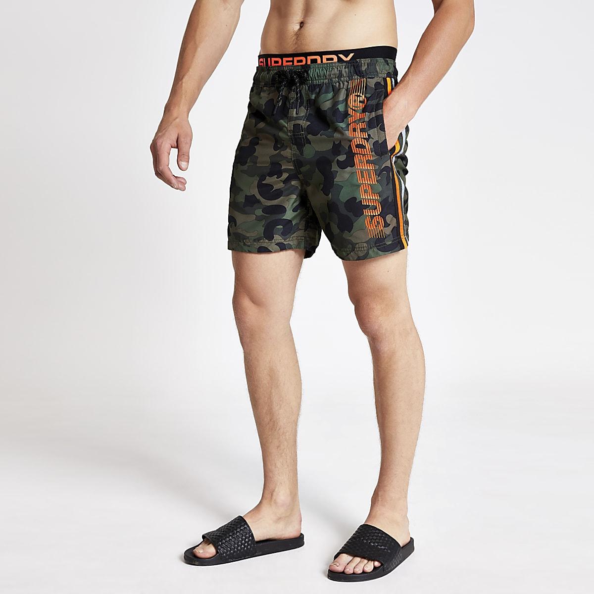 Superdry khaki camo side stripe swim shorts