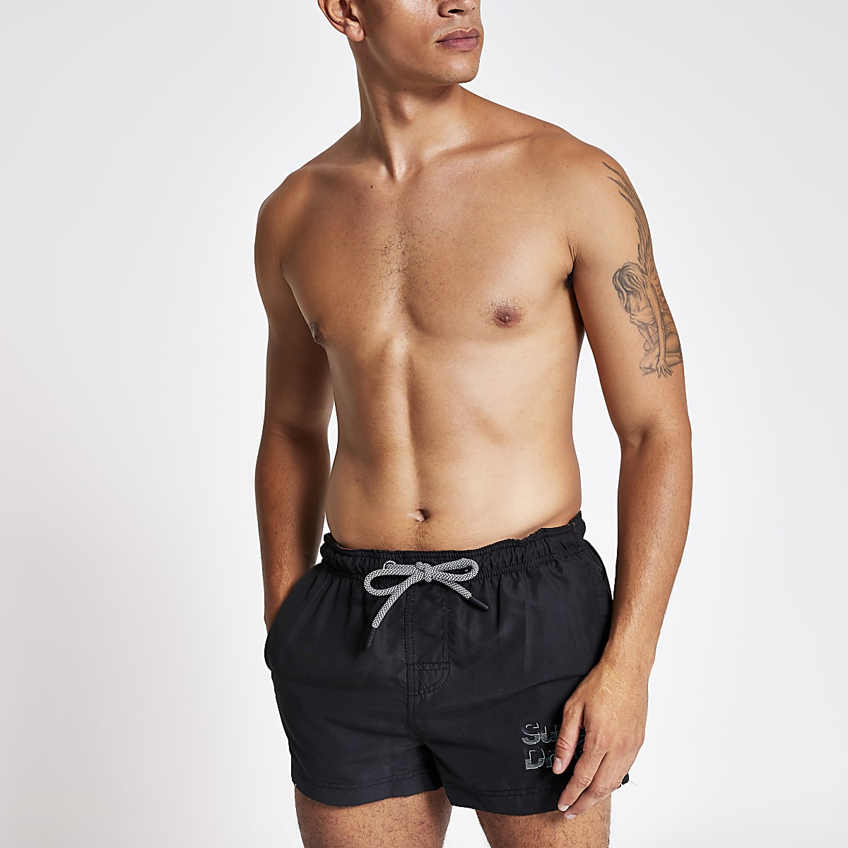 Superdry black logo swim shorts