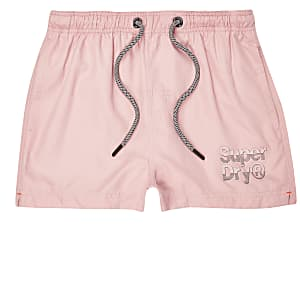 Superdry pink logo swim shorts
