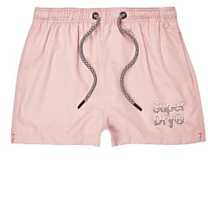 Superdry pink logo swim shorts