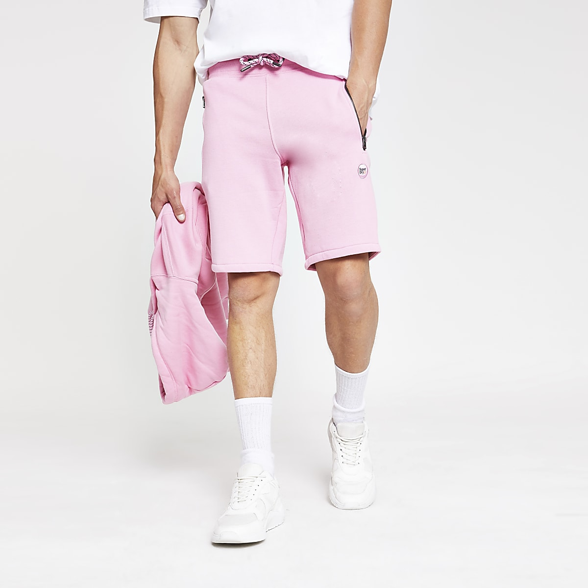 Superdry Collective pink jersey shorts