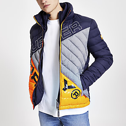 Superdry navy quilted jacket