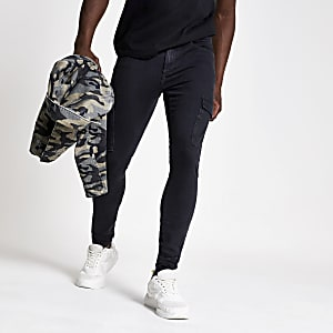 Ollie - Zwarte spray-on skinny cargojeans
