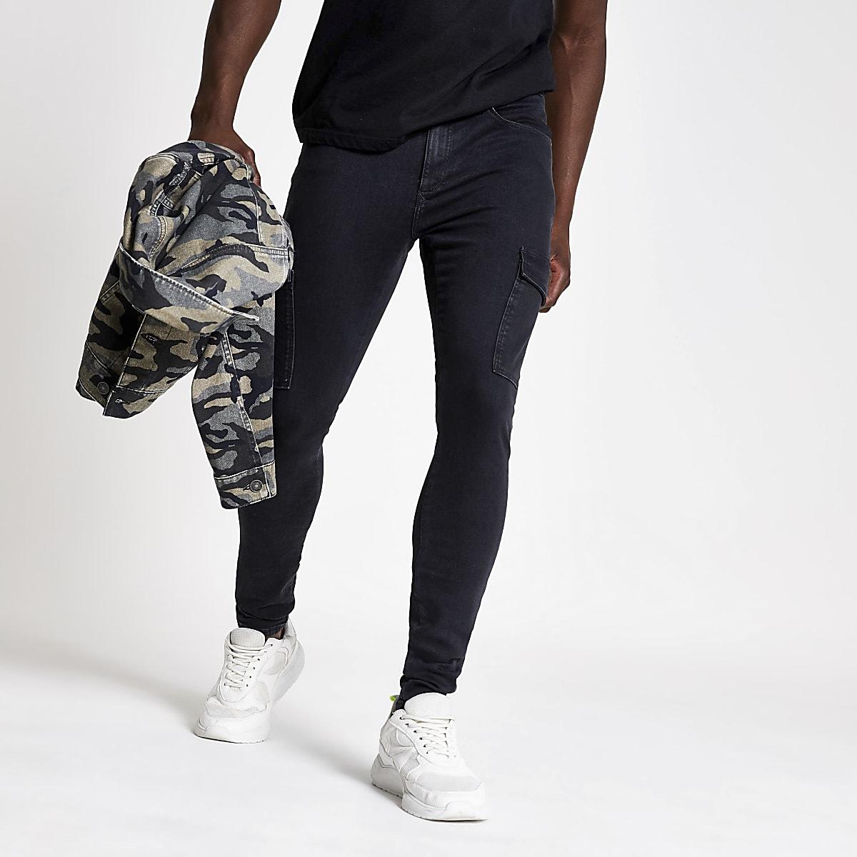 Black Ollie spray on skinny cargo jeans