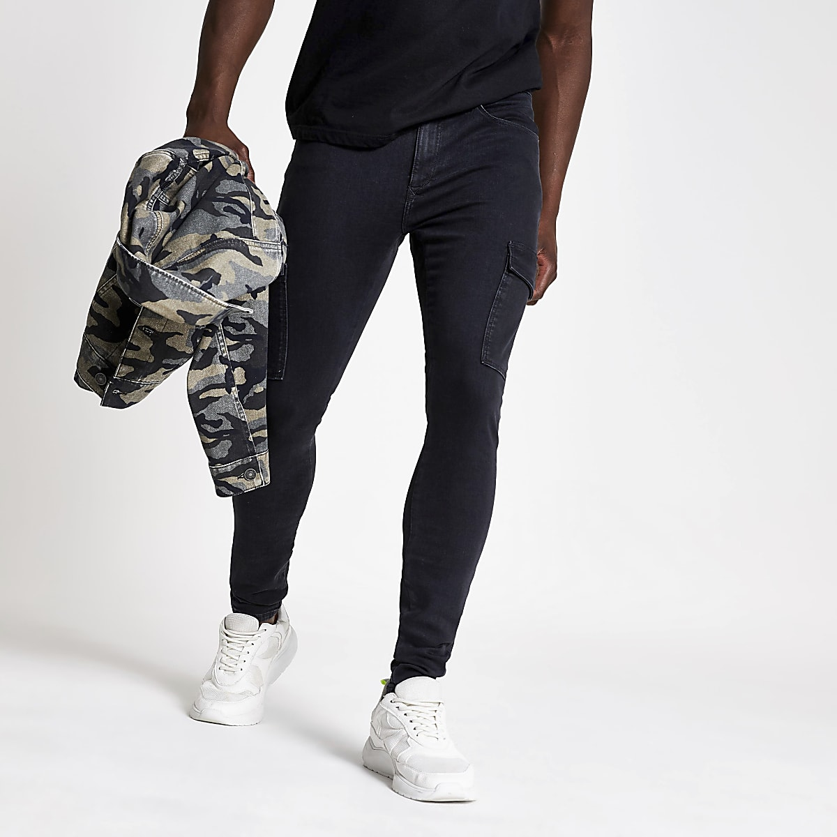 Ollie - Zwarte spray-on skinny cargojeans