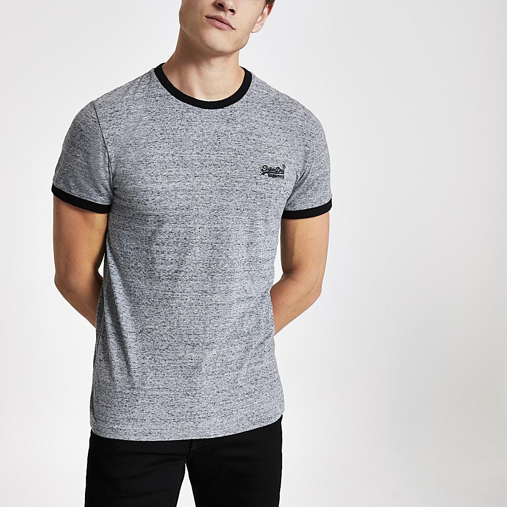 Superdry – T-shirt Cali gris à bordure contrastante