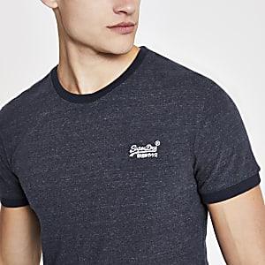 Superdry – Cali – Marineblaues Ringer-T-Shirt