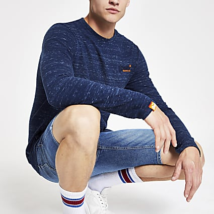 Superdry navy vintage long sleeve T-shirt