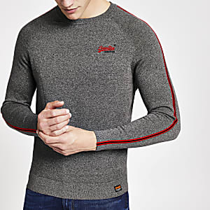 Superdry – Sweat gris à bandes