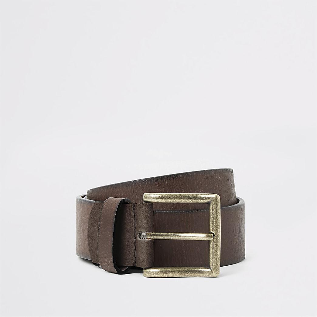 Brown turnback stitch buckle belt
