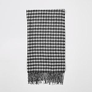 Zwarte sjaal met hanenvoet ruit