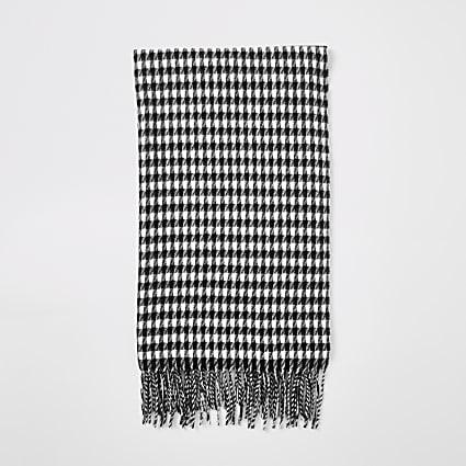 Black dogstooth check print scarf