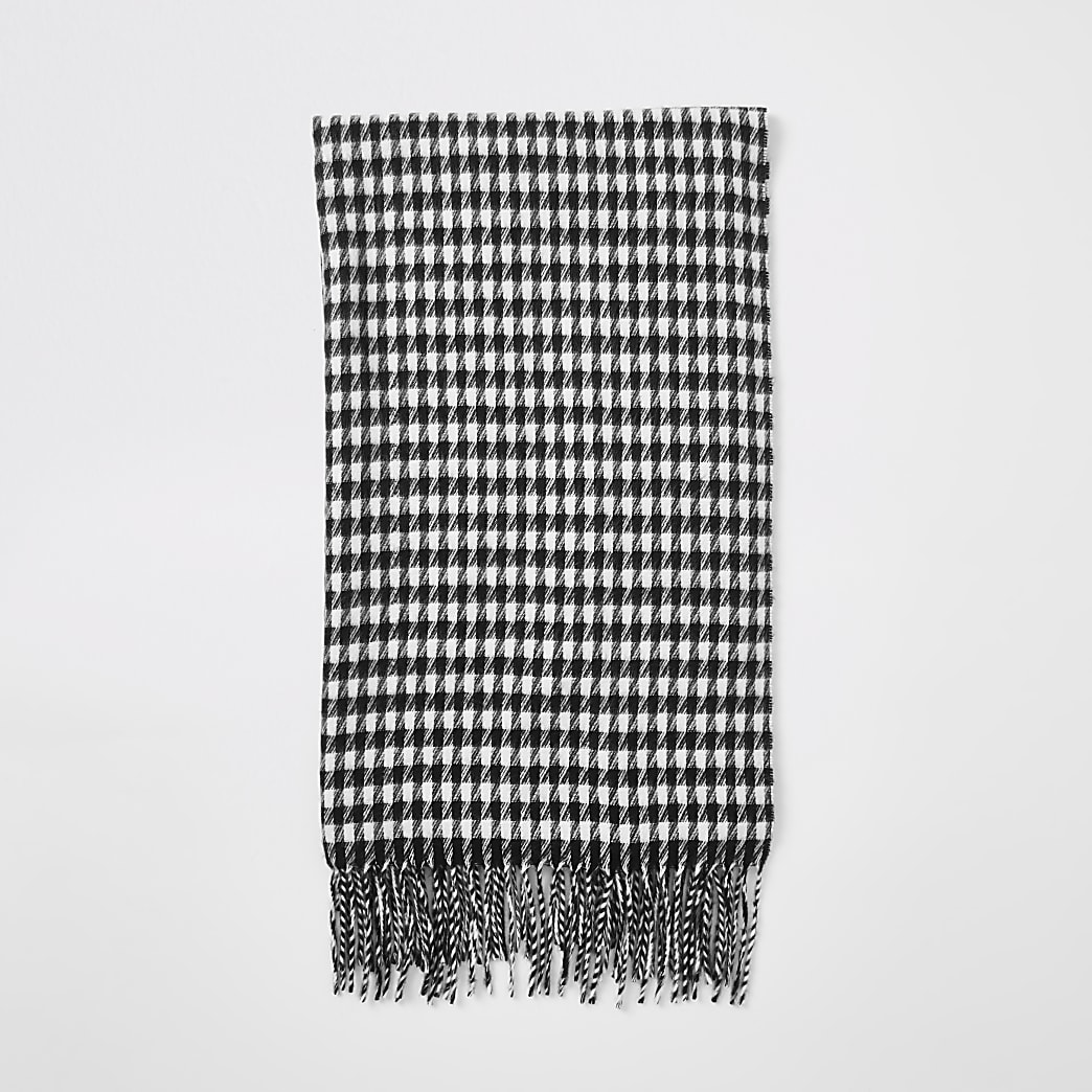 Black dogstooth check print scarf