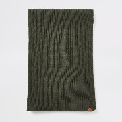 Khaki Prolific ribbed knit scarf